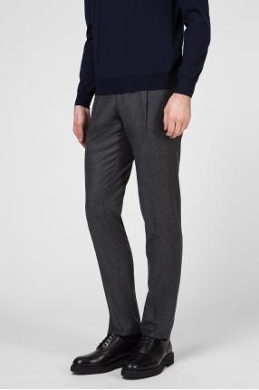 Мужские серые шерстяные брюки 1