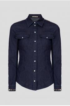 Женская темно-синяя джинсовая рубашка