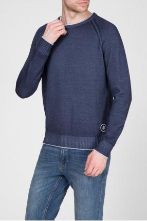 Мужской синий шерстяной свитер 1