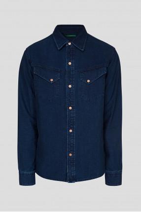 Мужская синяя джинсовая рубашка