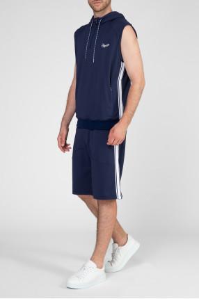 Мужской темно-синий спортивный костюм (футболка, шорты) 1