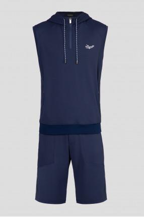 Мужской темно-синий спортивный костюм (футболка, шорты)