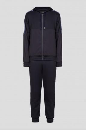 Мужской черный спортивный костюм (худи, брюки)