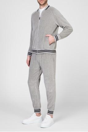 Мужской серый велюровый костюм (бомбер, брюки) 1