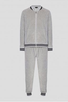 Мужской серый велюровый костюм (бомбер, брюки)