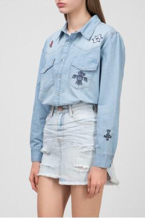 Женская голубая рубашка INDIANA  1