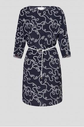 Женское темно-синее платье с узором