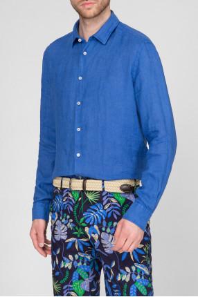 Мужская синяя льняная рубашка  1
