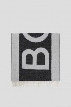Мужской темно-серый шерстяной шарф 1