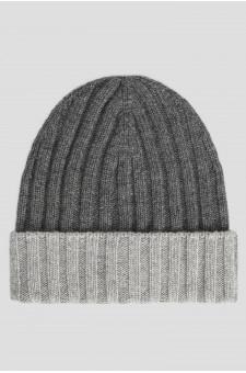 Мужская темно-серая кашемировая шапка