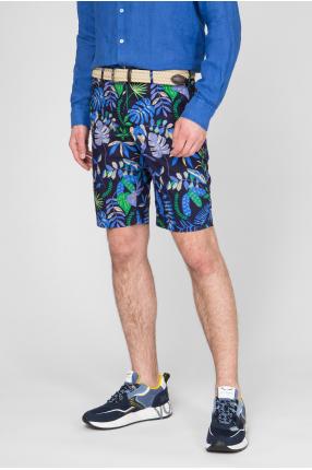 Мужские темно-синие шорты с принтом 1