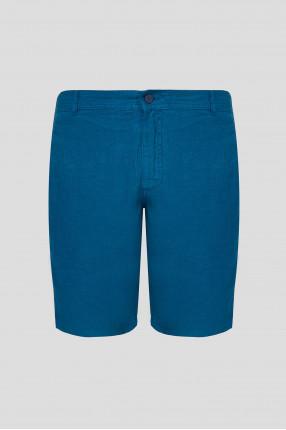 Мужские синие льняные шорты