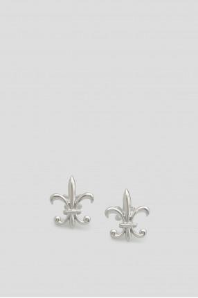 Мужские серебристые запонки FLEUR DE LIS FRONT & BACK 1