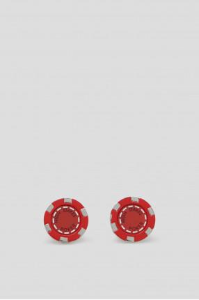 Мужские красные запонки HIGH STAKES POKER CHIP 1