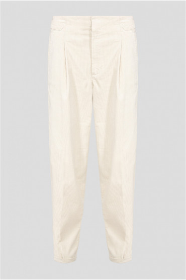 Женские бежевые вельветовые брюки 1