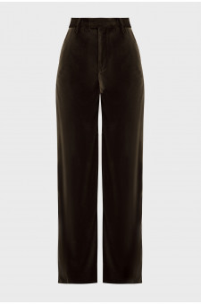 Женские темно-зеленые бархатные брюки