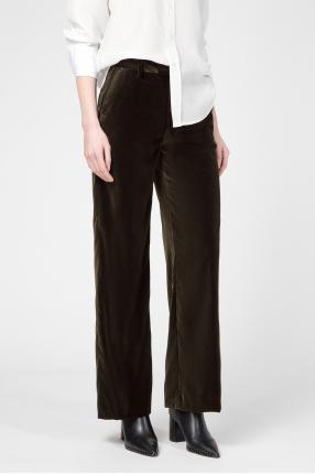 Женские темно-зеленые бархатные брюки 1