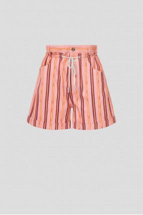 Женские розовые шорты в полоску