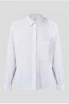 Женская белая блуза в полоску