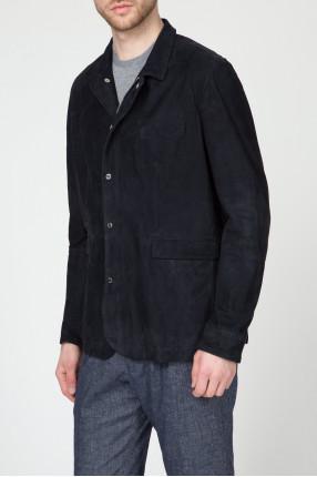 Мужская темно-синяя кожаная куртка 1