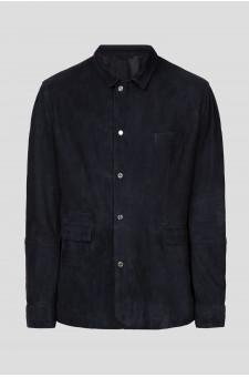Мужская темно-синяя кожаная куртка