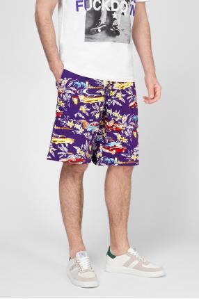 Мужские фиолетовые шорты с принтом 1