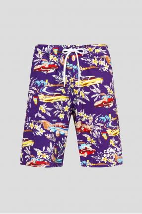 Мужские фиолетовые шорты с принтом