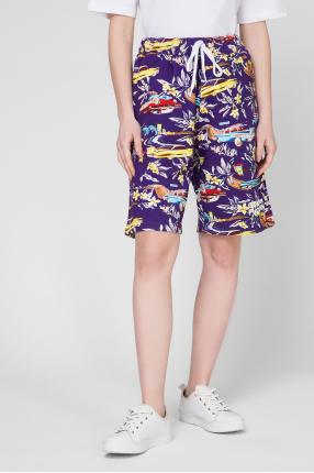 Женские фиолетовые шорты с принтом 1