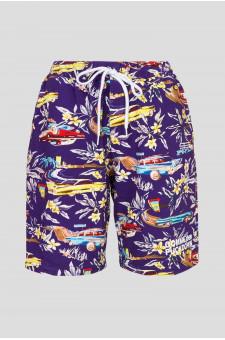 Женские фиолетовые шорты с принтом