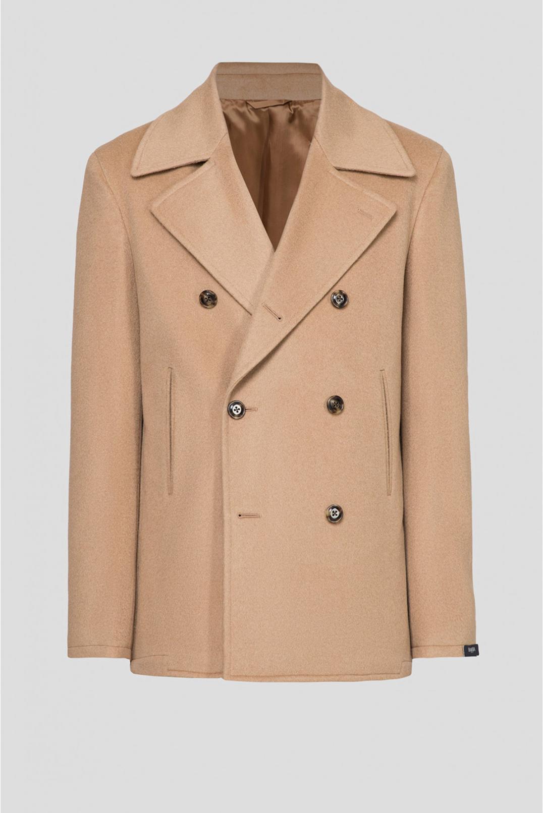 Мужское бежевое шерстяное пальто - 1