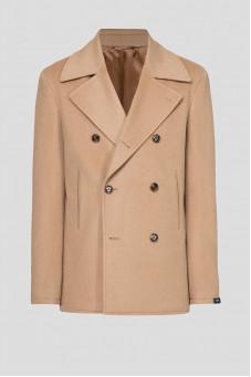 Мужское бежевое шерстяное пальто