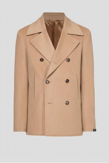 Мужское бежевое шерстяное пальто 1