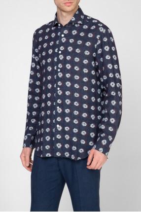 Мужская темно-синяя льняная рубашка с принтом 1
