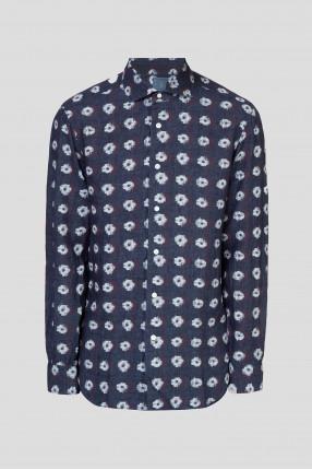 Мужская темно-синяя льняная рубашка с принтом