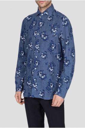 Мужская синяя льняная рубашка в клетку 1