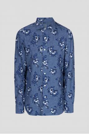 Мужская синяя льняная рубашка в клетку