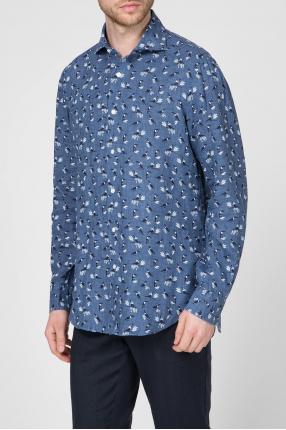 Мужская синяя льняная рубашка с принтом 1