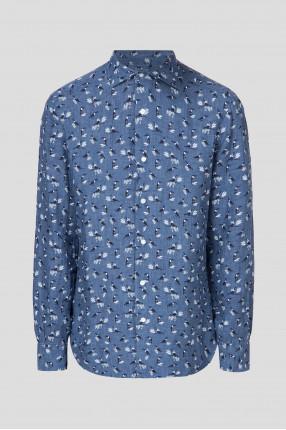 Мужская синяя льняная рубашка с принтом