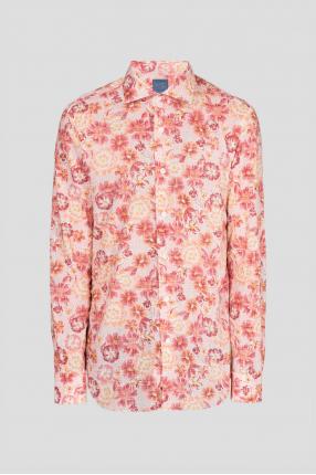 Мужская розовая рубашка с принтом