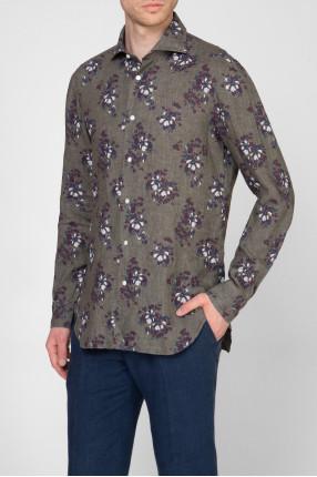 Мужская серая льняная рубашка с принтом 1
