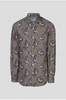 Мужская серая льняная рубашка с принтом