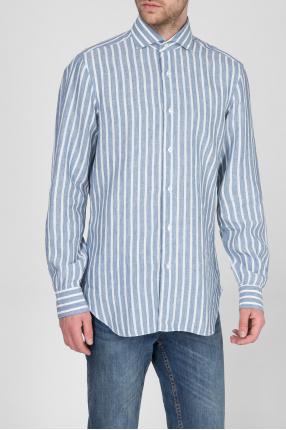 Мужская голубая льняная рубашка в полоску 1