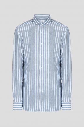 Мужская голубая льняная рубашка в полоску