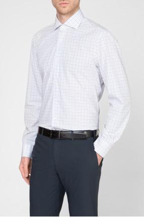 Мужская белая рубашка с принтом 1
