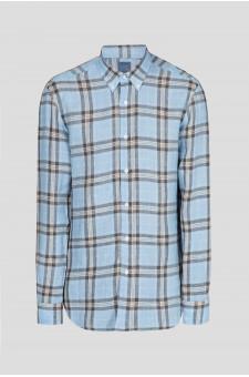 Мужская голубая льняная рубашка в клетку