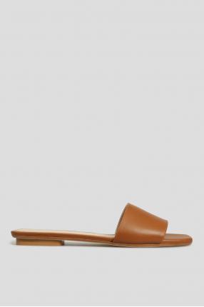 Женские коричневые кожаные слайдеры