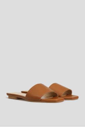 Женские коричневые кожаные слайдеры 1