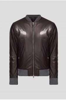 Мужской темно-коричневый кожаный бомбер