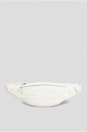 Мужская белая кожаная поясная сумка