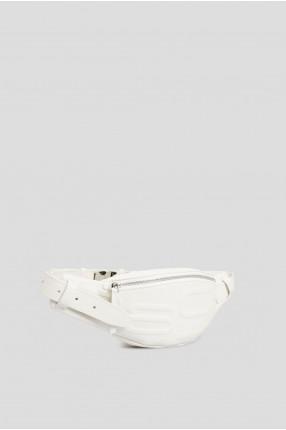 Мужская белая кожаная поясная сумка  1
